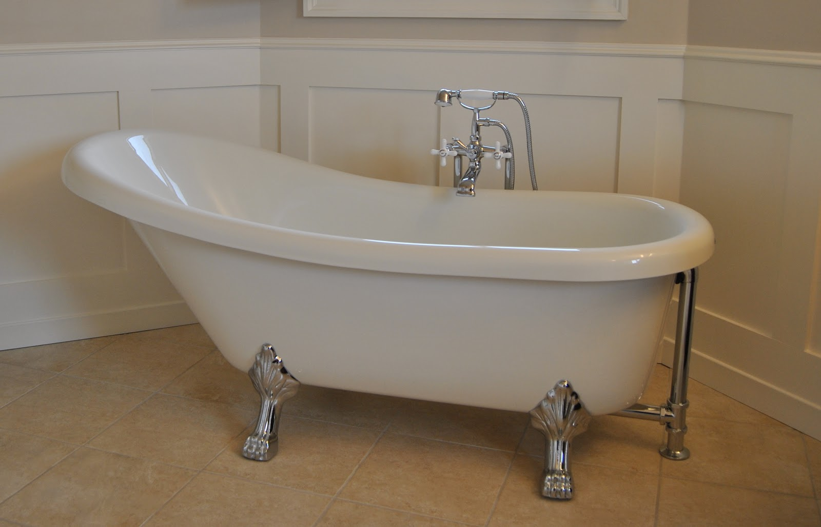 Styleburb master bathroom from scary to sublime for Built in clawfoot tub