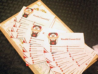 kissable corset business cards
