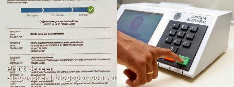 Print Screen Rastreamento do SEDEX da carta de Jucelino -eleições 2014