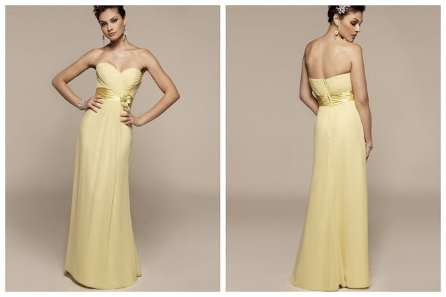 Floor-Length Yellow Wedding Bridesmaid Dress