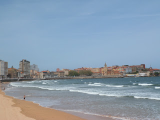 Coastline and beach in Gijon, Northern Spain