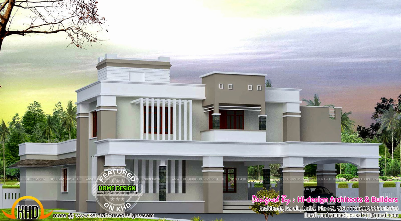 Flat Roof Contemporary Home Kerala Home Design And Floor Plans