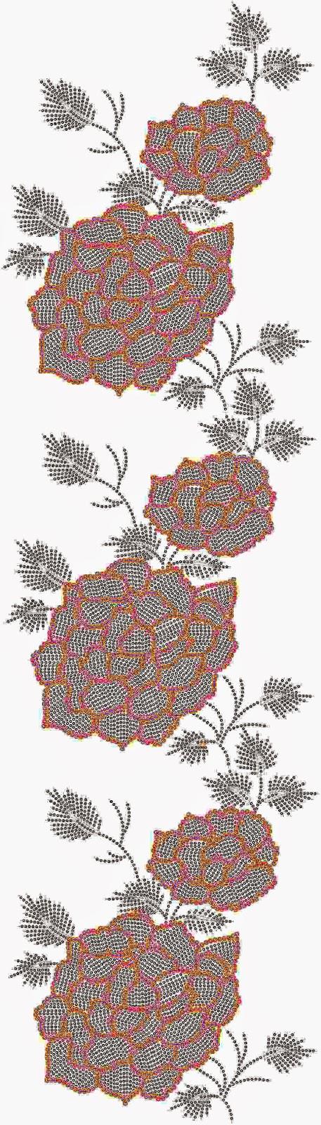 rose blomme borduurwerk Oral patroon