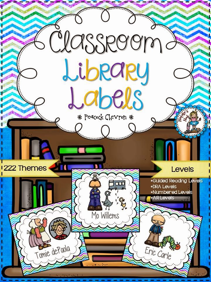 http://www.teacherspayteachers.com/Product/Classroom-Library-Labels-Peacock-Chevron-1301037