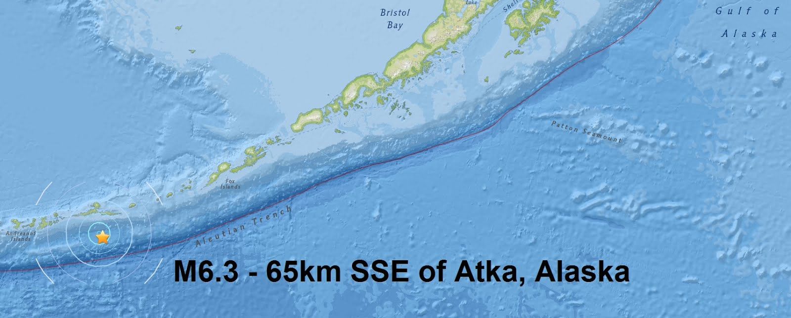 M6.3 - 65km SSE of Atka, Alaska is only the second major quake of March 2016