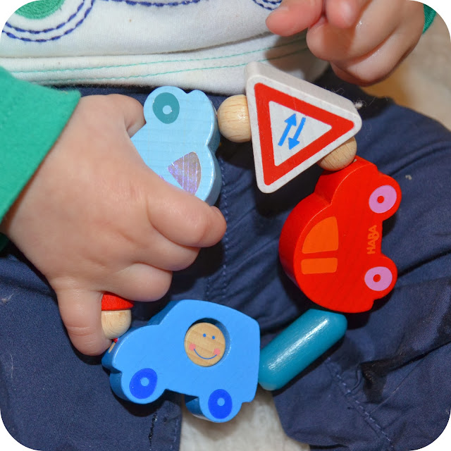 haba clutching toy, the toadstool, wooden baby toy, wooden car baby toy