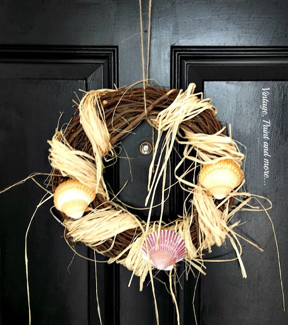 Vintage, Paint and more... beach inspired grapevine wreath made with raffia and shells