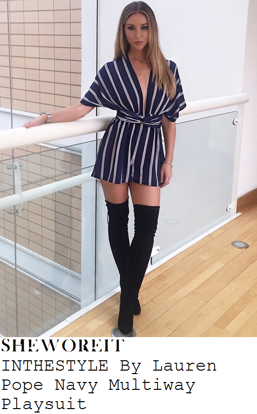lauren-pope-navy-white-stripe-print-kimono-sleeve-playsuit