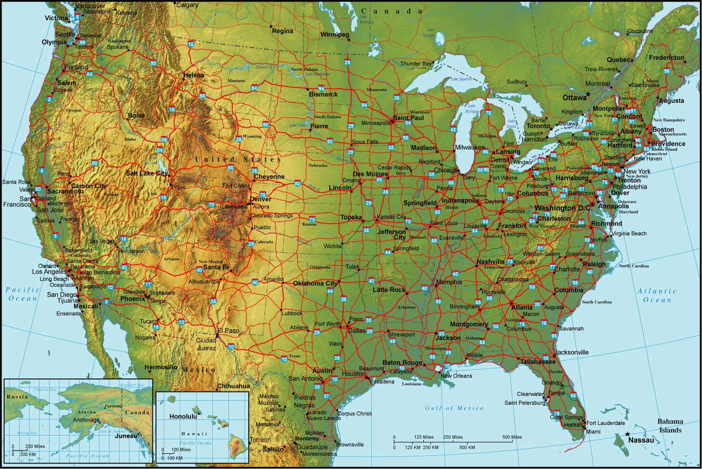 Online maps united states physical map for United states of america cities