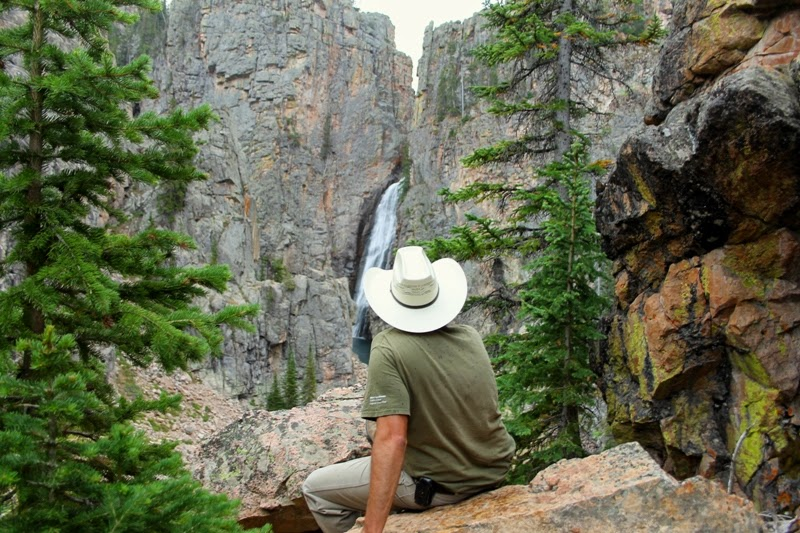 Papa enjoys the view of Bucking Mule Falls, Bighorn Mountains, WY