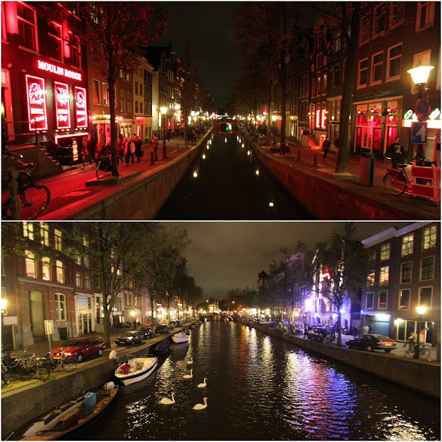 Another Canals of Amsterdam with the famous Red Light District on the top in Amsterdam, Netherlands
