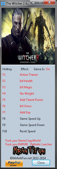 The Witcher 2 Assassins of Kings Steam Trainer +8 MrAntiFun