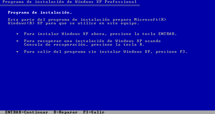 programa de instalacion de windows xp