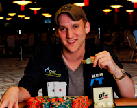 Jason Somerville after winning Event No. 20 at the 2011 WSOP, a $1,000 No-Limit Hold'em event