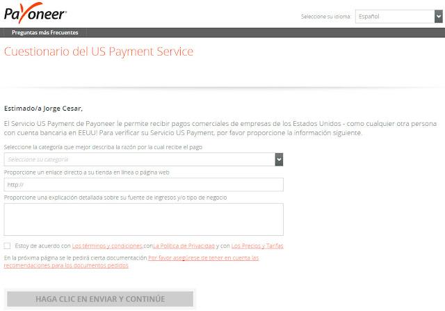 cuestionario US Payment Service Payoneer