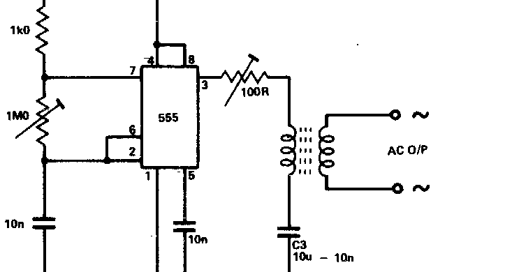 secret diagram  inverter as high voltage low current source using by 555 timer