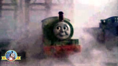 A white ghost train Percy the tank engine phantom locomotive night Thomas and Toby the train tram