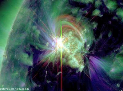 llamarada solar clase M1.4, 08 de Mayo de 2012
