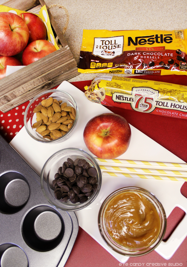 ingredients needed for cookie cups, apple dipping, nestle toll house fall desserts
