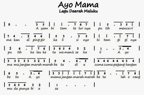 Lagu daerah ayo mama | INFO OPERATOR | NOT ANGKA LAGU ...