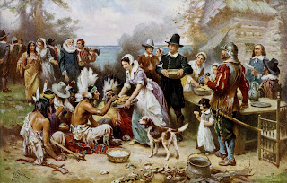 The First Thanksgiving 1621, oil on canvas by Jean Leon Gerome Ferris