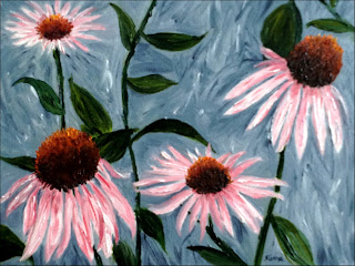 Oil painting of purple cone flowers against blue gray background