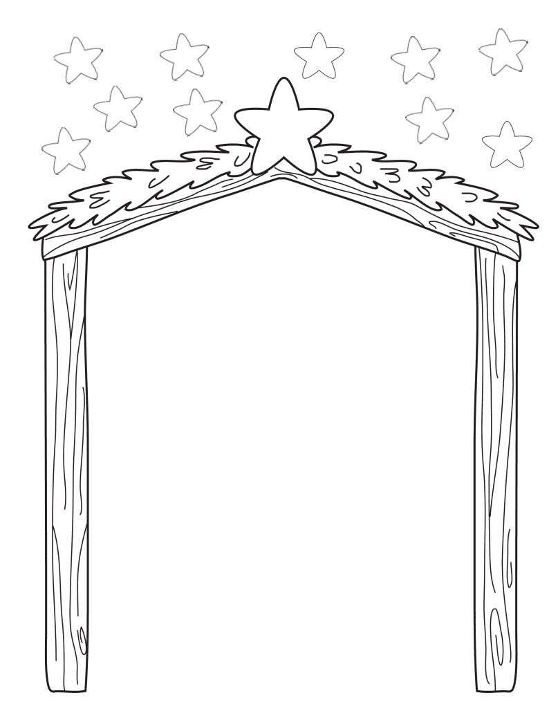 Nacimiento de jesus en el establo para colorear dibujos de - Dibujos de nacimientos de navidad ...