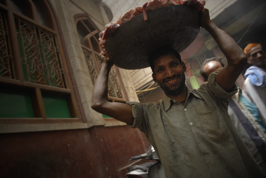 This is a photo of a meat-carrier in Chowk Nai Basti in Delhi