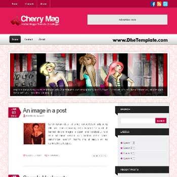 Cherry Mag blogger template. image slider blogger template. 3 column footer template blog