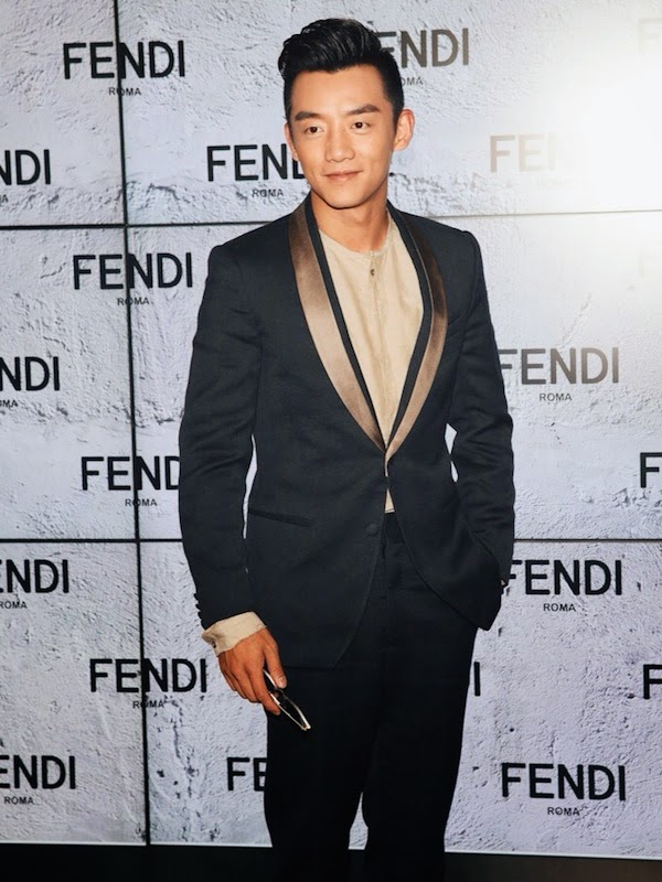 Zheng Kai at Fendi show - Milan Menswear Fashion Week Spring Summer 2015 郑恺亮相芬迪米兰春夏2015时装秀