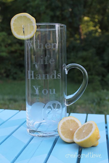 Glass Etched Lemonade Pitcher via createcraftlove.com #glassetching