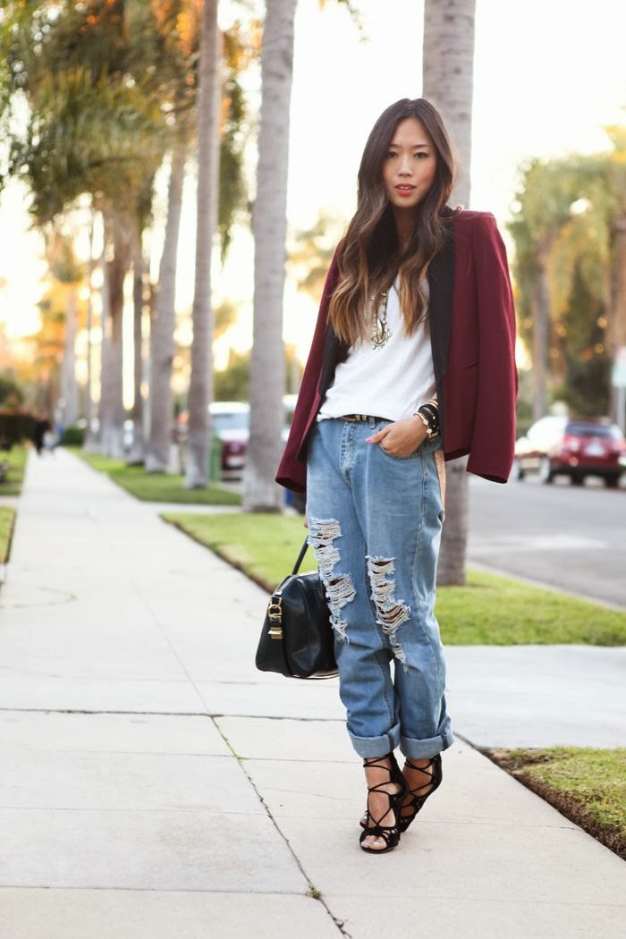 boyfriend jeans-laced sandals