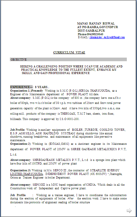 download resume format - Boiler Engineer Sample Resume
