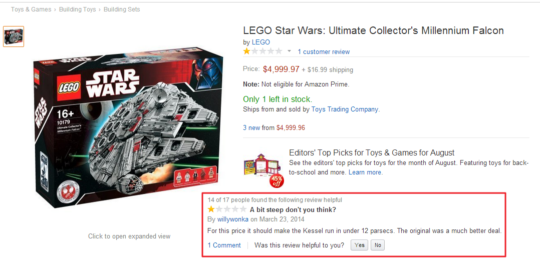 millennium falcon lego review amazon