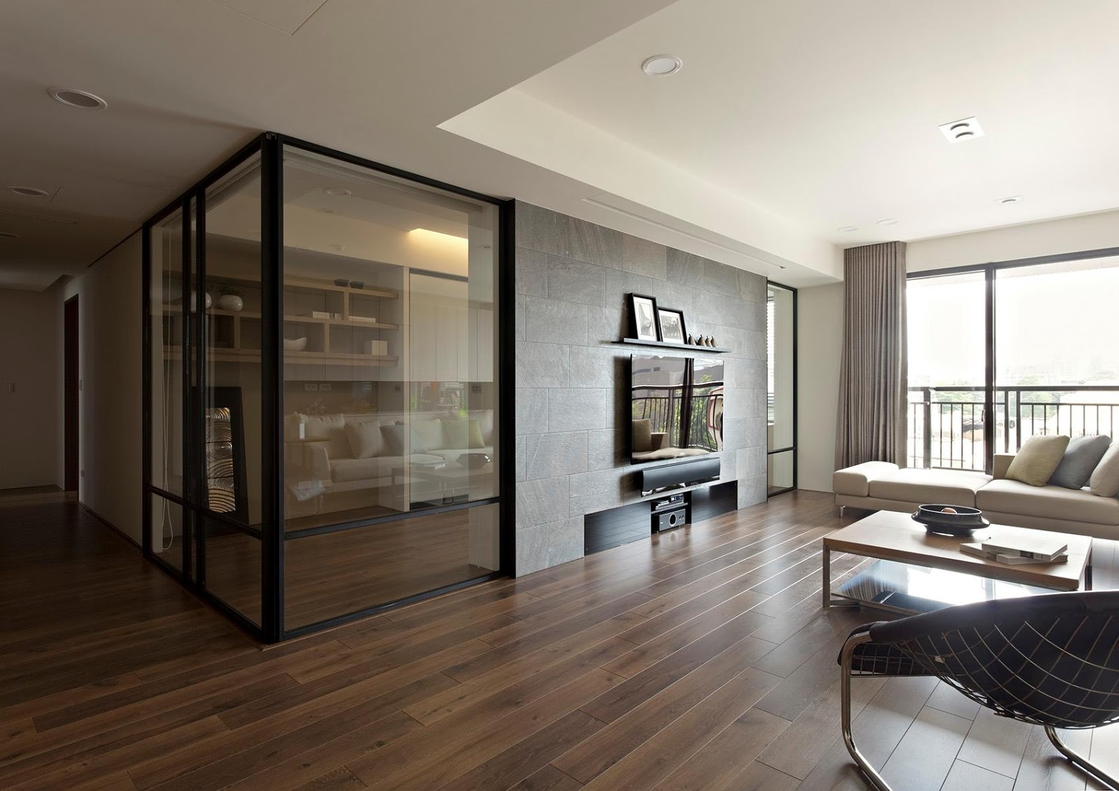 Modern interior glass doors -  Door Designs For Living Room Apartment With A Retractable Interior Wall