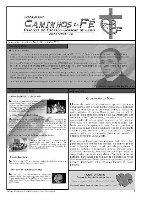 Paróquia de Almino Afonso lança informativo