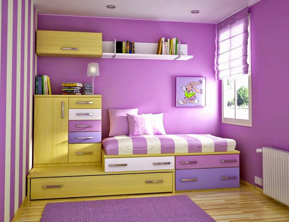 Desain kamar tidur anak minimalis warna ungu