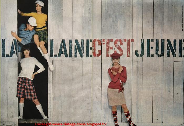 wool publicité La laine, c'est jeune ! 1965 vintage ad advert mod sixties 1960 60s annees 60 preppy school days twiggy