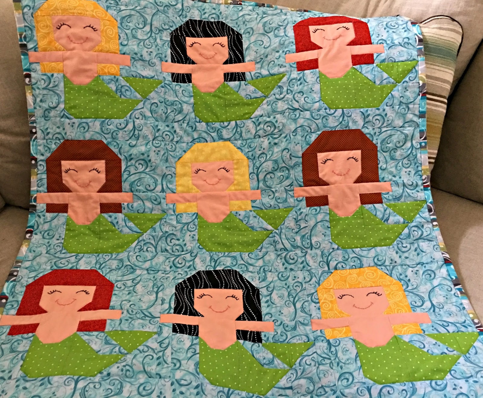 Just Because Quilts: Mermaids in a row : mermaid quilts - Adamdwight.com