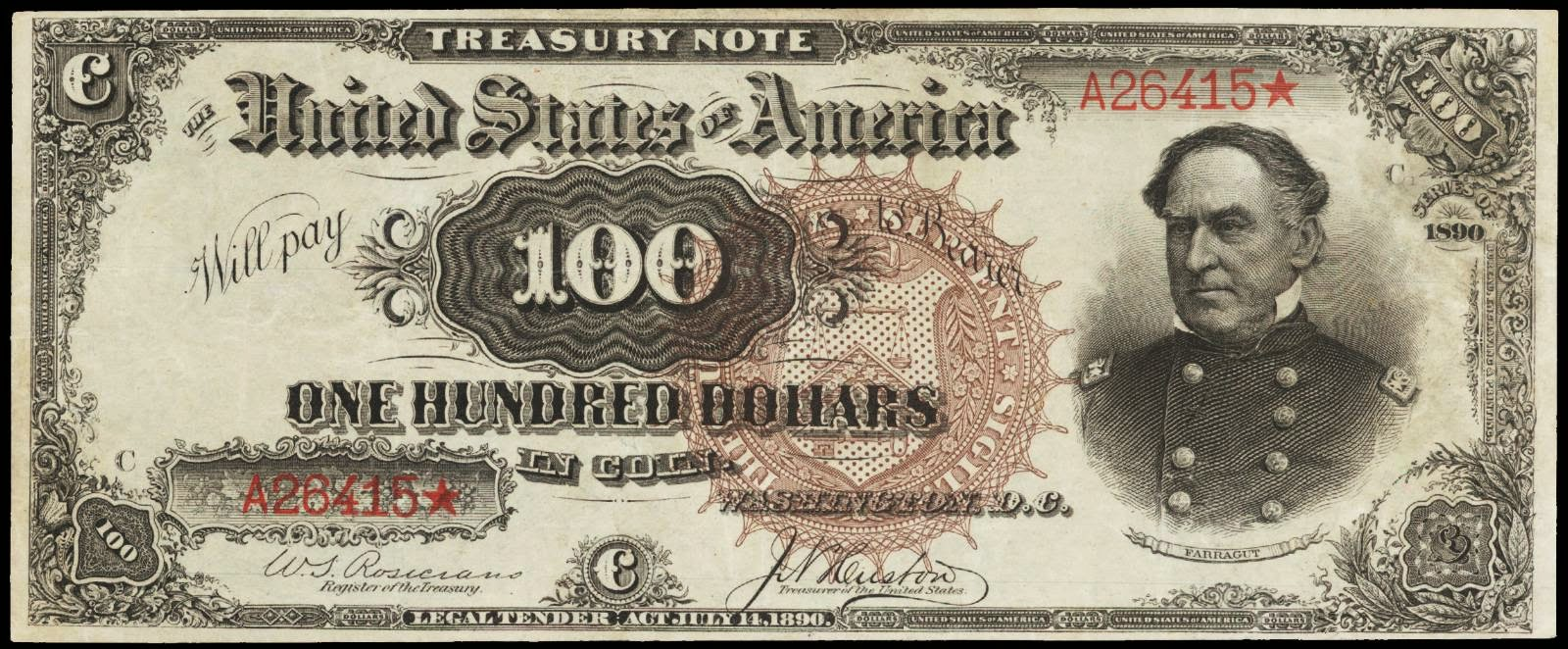 1890 100 Dollar Treasury Coin Note Watermelon