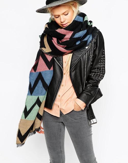 coloured chevron scarf, oversized chevron scarf,