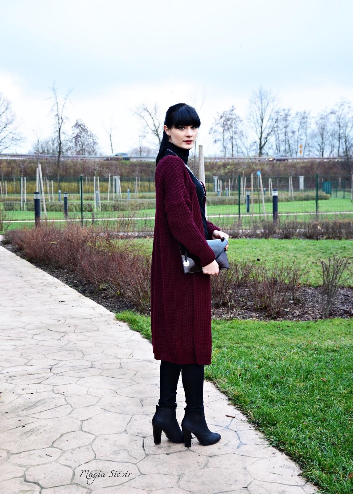 kolor burgund, kardigan jako płaszcz na jesień