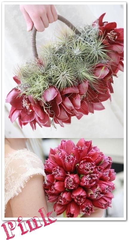 brudbukett tulpaner, väska av blommor