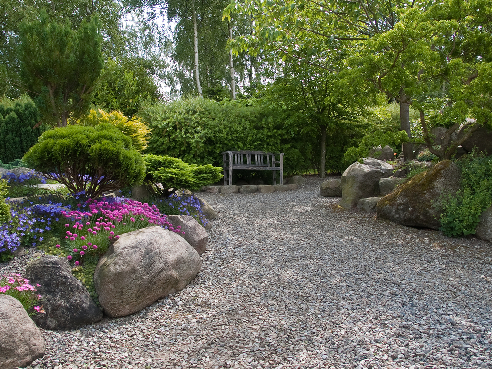 Gravel patios and landscaping shine your light for Landscaped back gardens