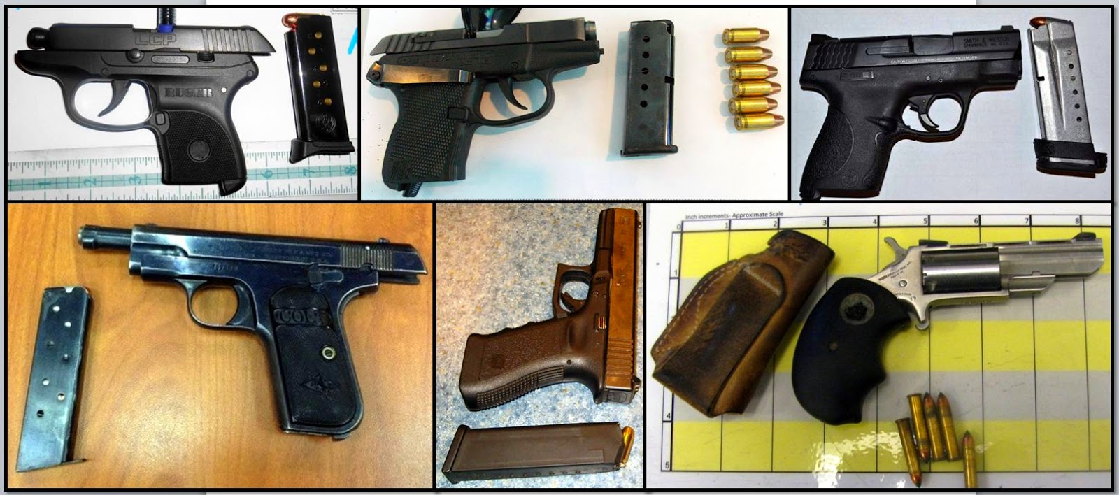 Firearms Discovered at: (Left - Right / Top to Bottom) FLL, HOU, TYS, ATL, SPS & FNT