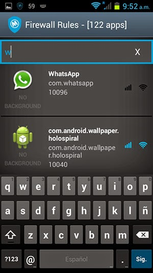 firewall con whatsapp en android