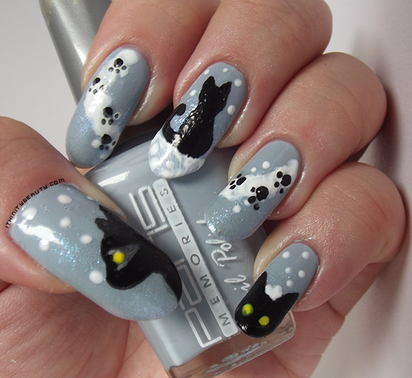 The little snow cat ithinitybeauty nail art blog for this manicure i used two coats of paris memories im not sure which number but its a dove greyblue i then added ozotic sugar 903 to the times to prinsesfo Gallery