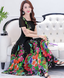 New 2017 Short Sleeve Full Spring Blooms Past Knee Length Chiffon Dress
