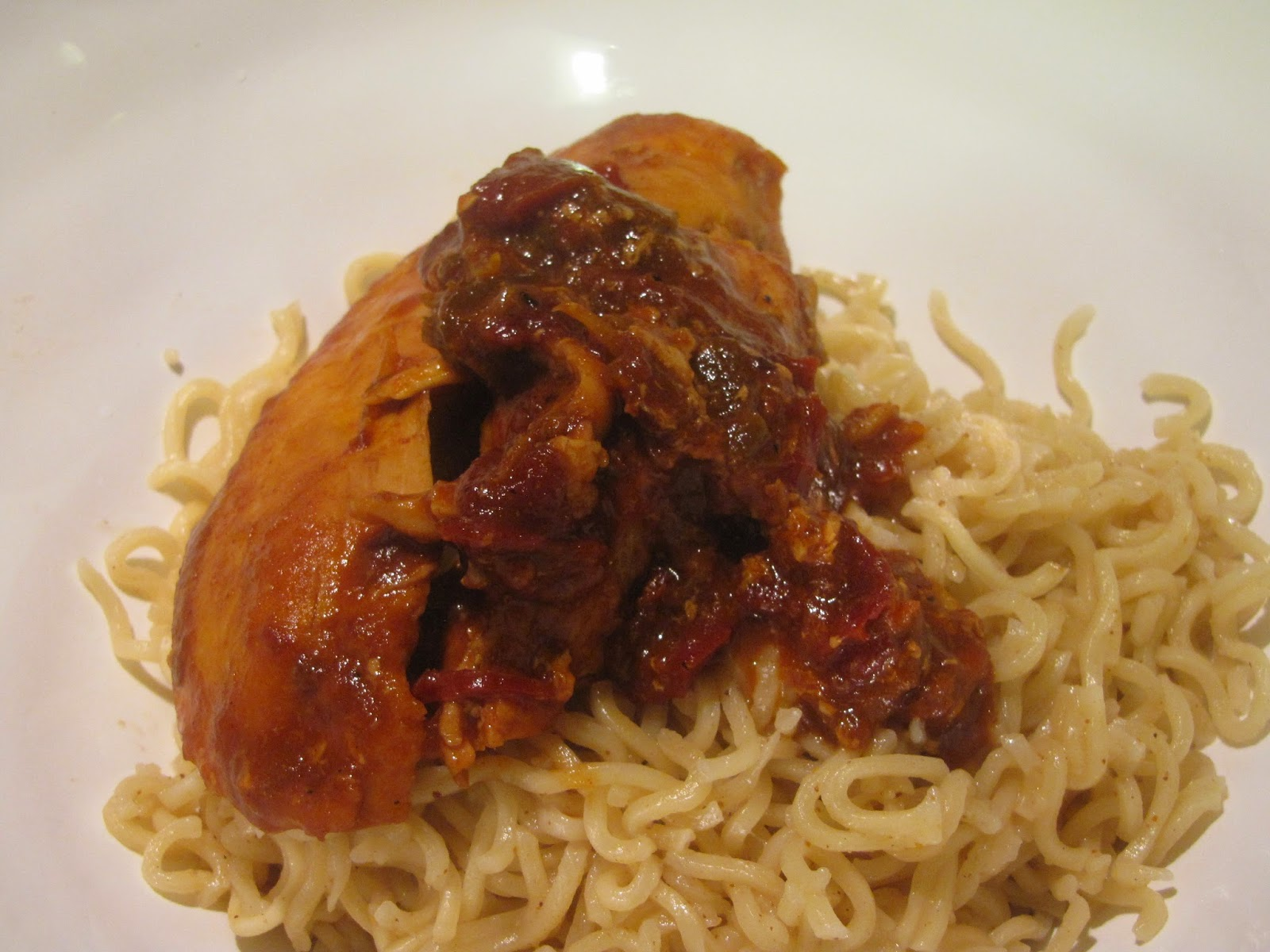Orange Chipotle Chicken on Noodles