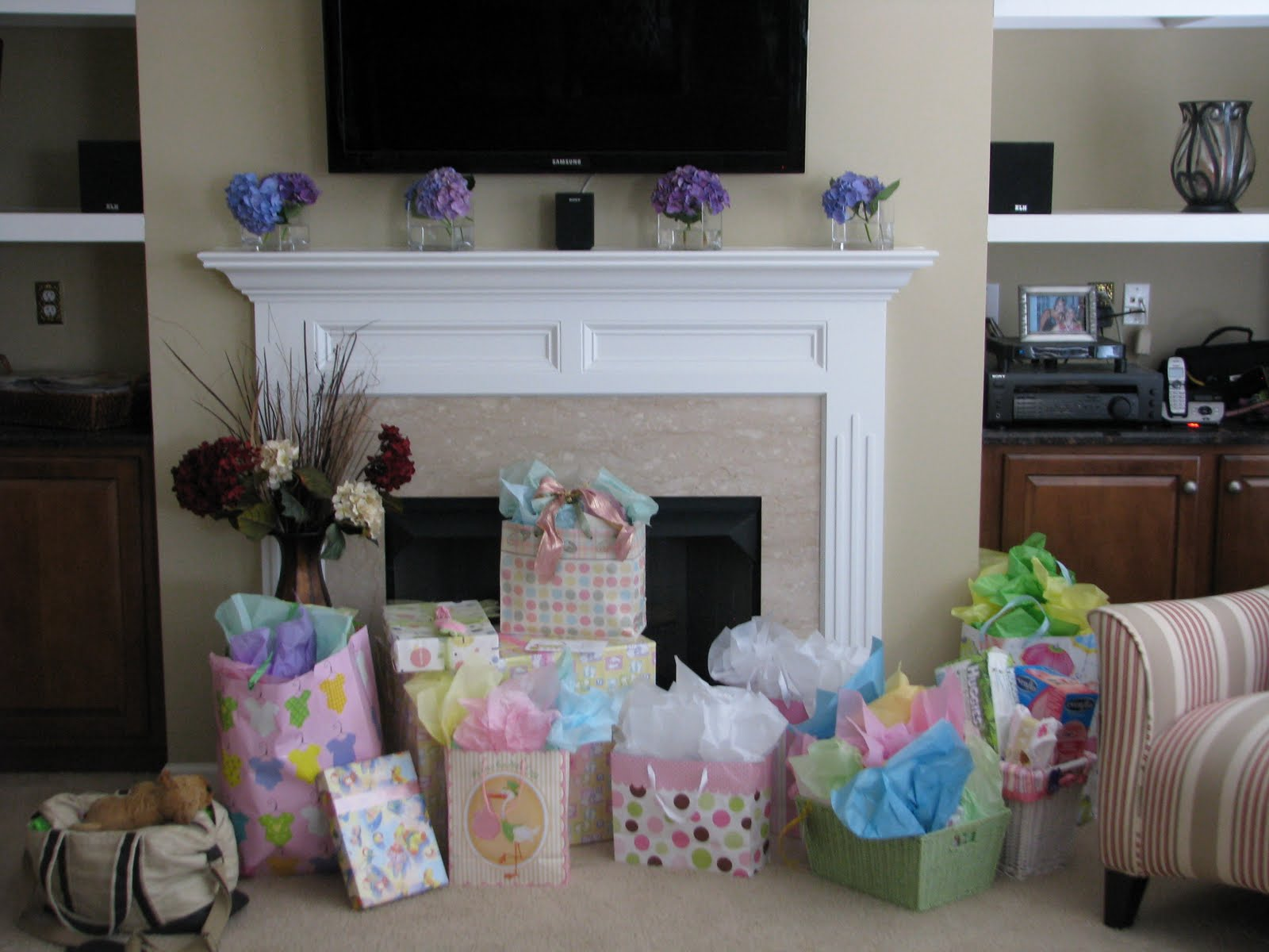 Budget Friendly Baby Shower. Flower Arrangements On The Fireplace From Our  Yard, Vases Are From Daughter #3 Wedding Centerpieces A Few Years Back. We  Have ...